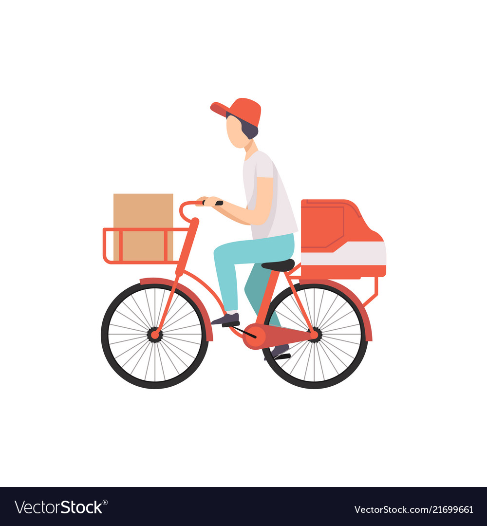 Male courier riding bicycle with cardboard boxes