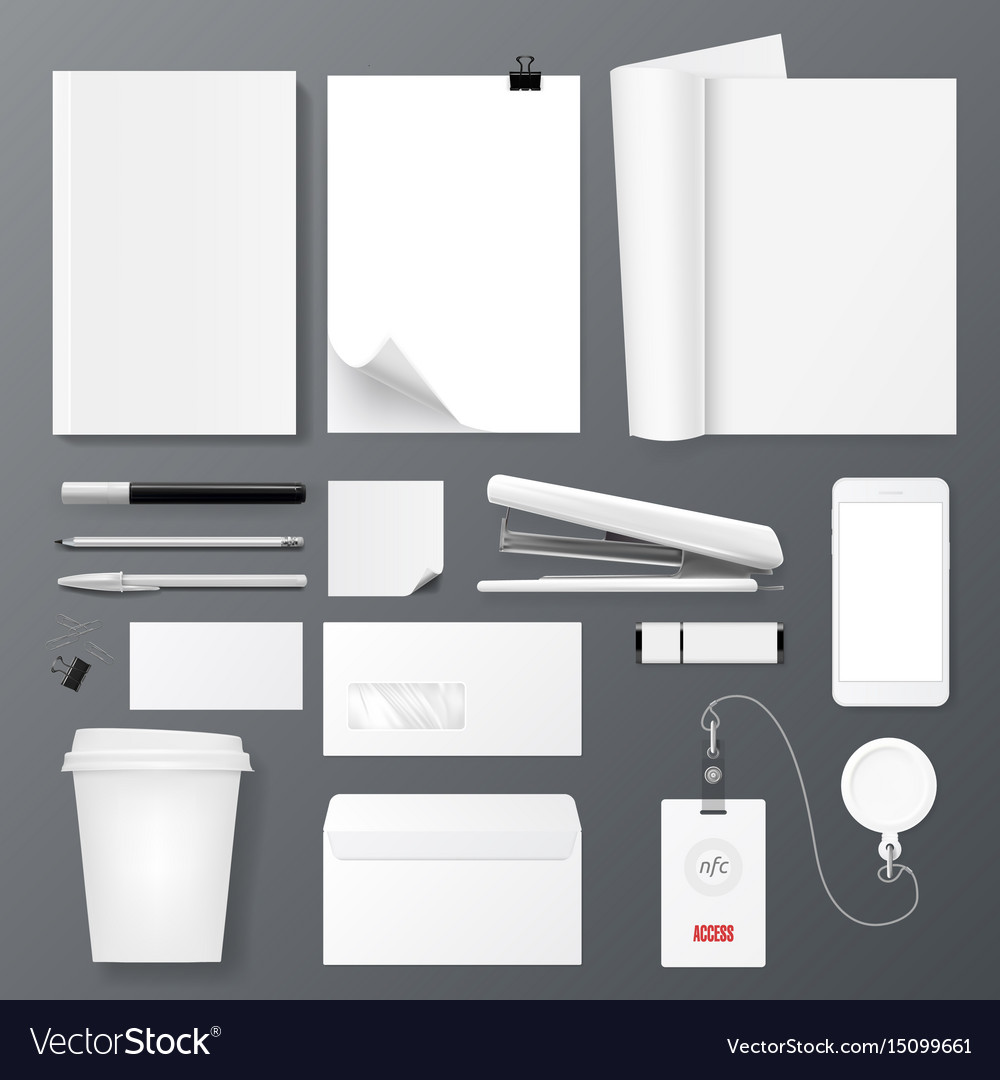 Office corporate identity template set design for