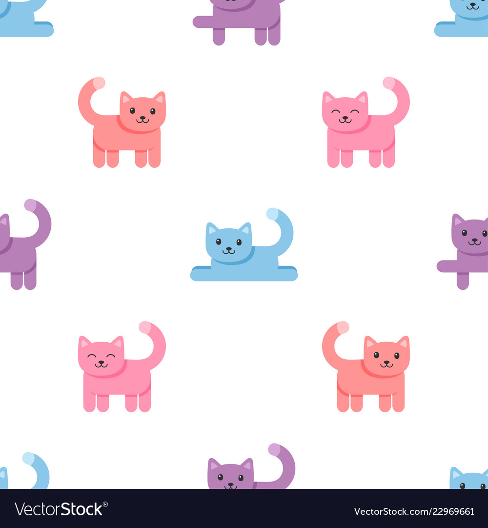 Pattern with colorful cats on white background