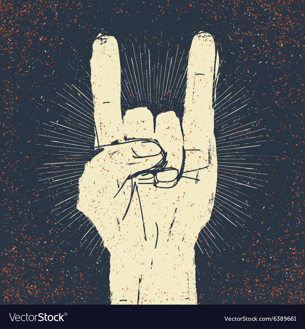 Rock on grunge with rays vector image