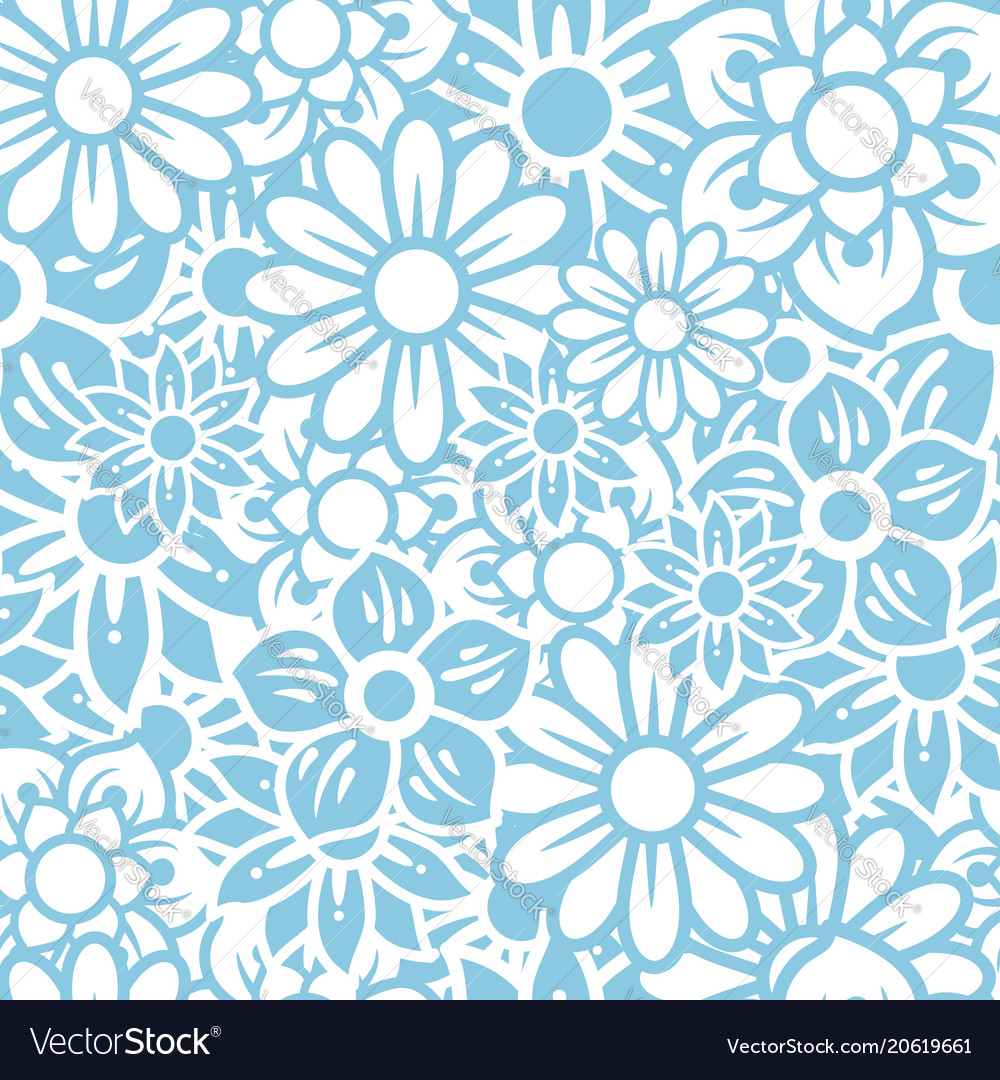 Seamless pattern big blue flowers background vector image izmirmasajfo