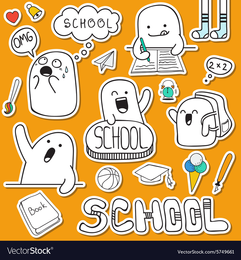 Set sticker doodle characters and school supplies