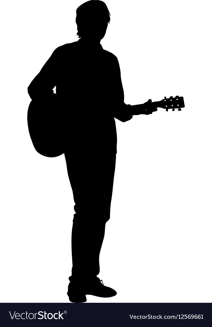 Silhouette musician plays the guitar