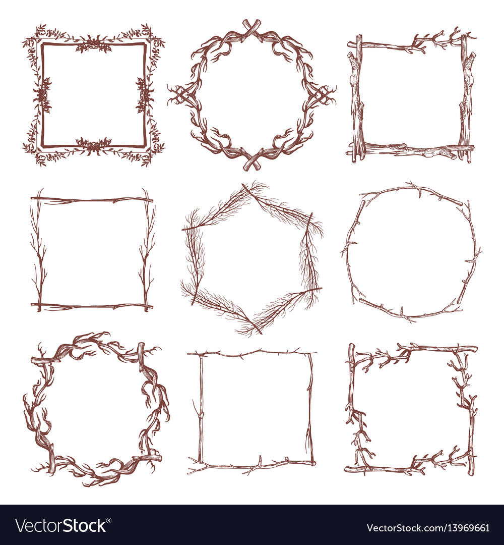 Vintage Rustic Branch Frame Borders Hand Drawn Vector Image