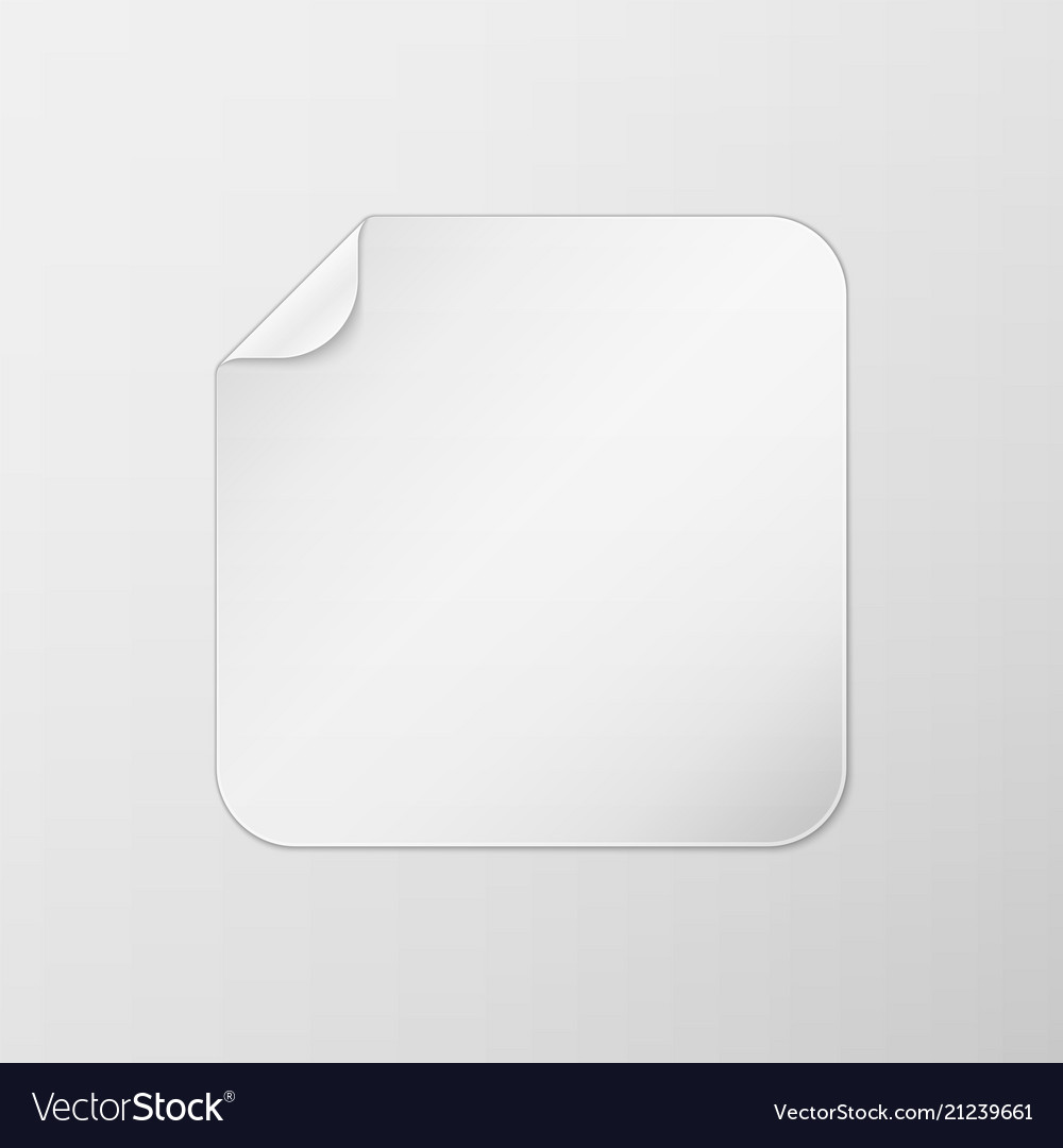 White square peel off paper sticker