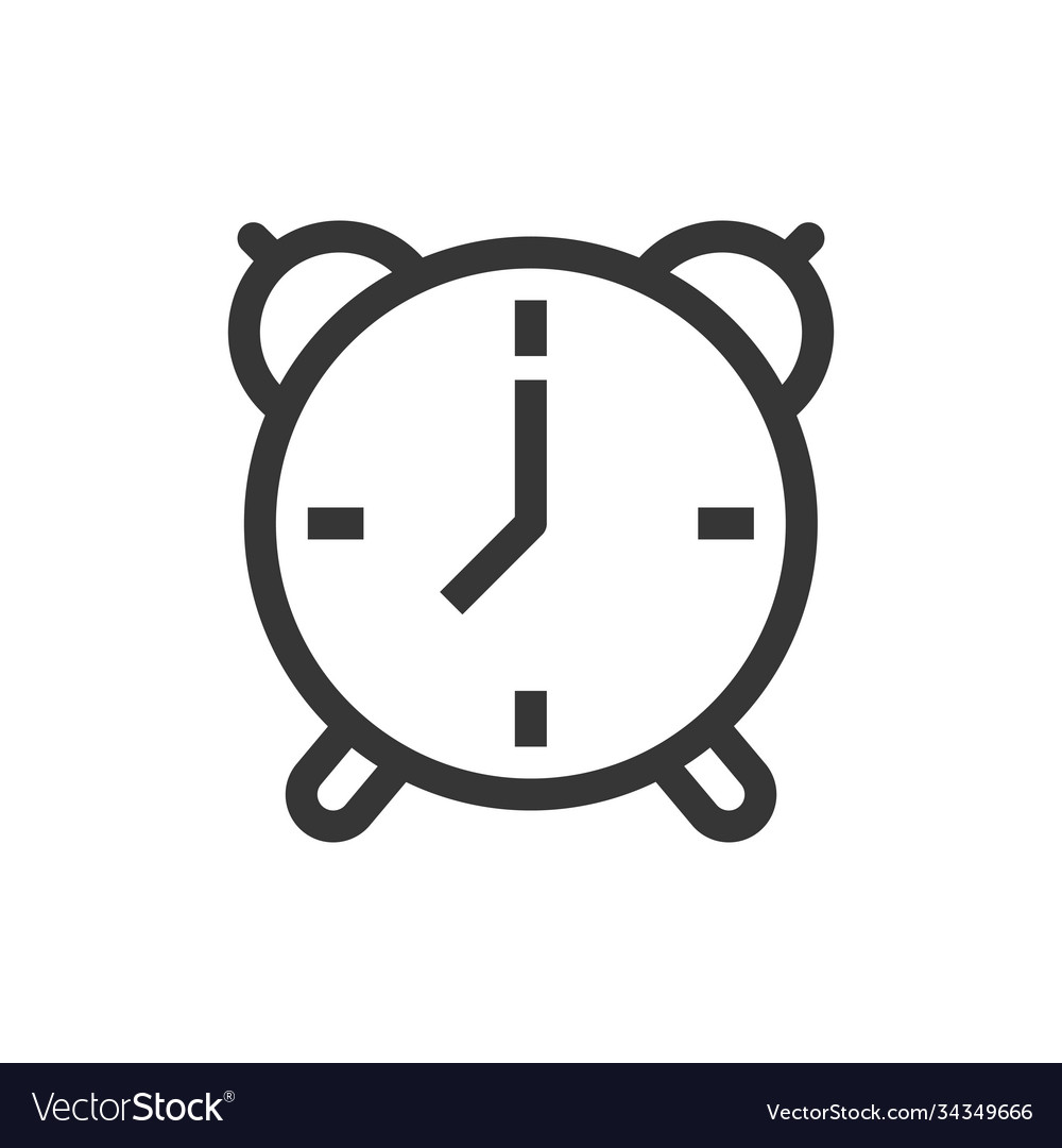 Alarm clock line style isolated icon