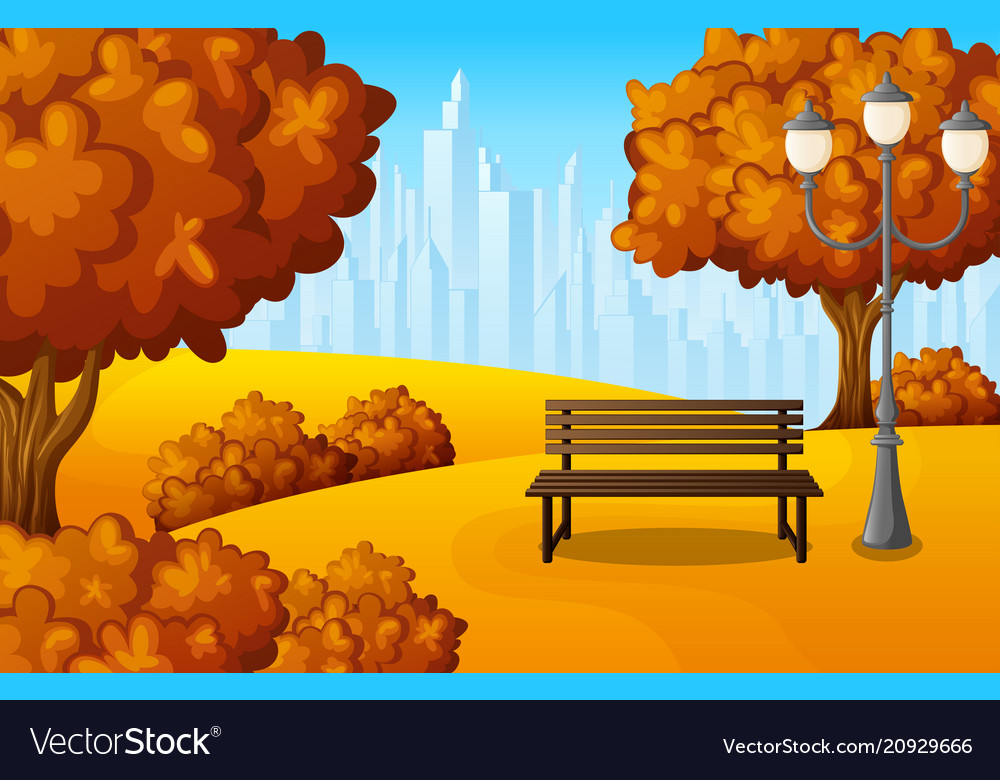 Autumn city park bench with lantern and town build