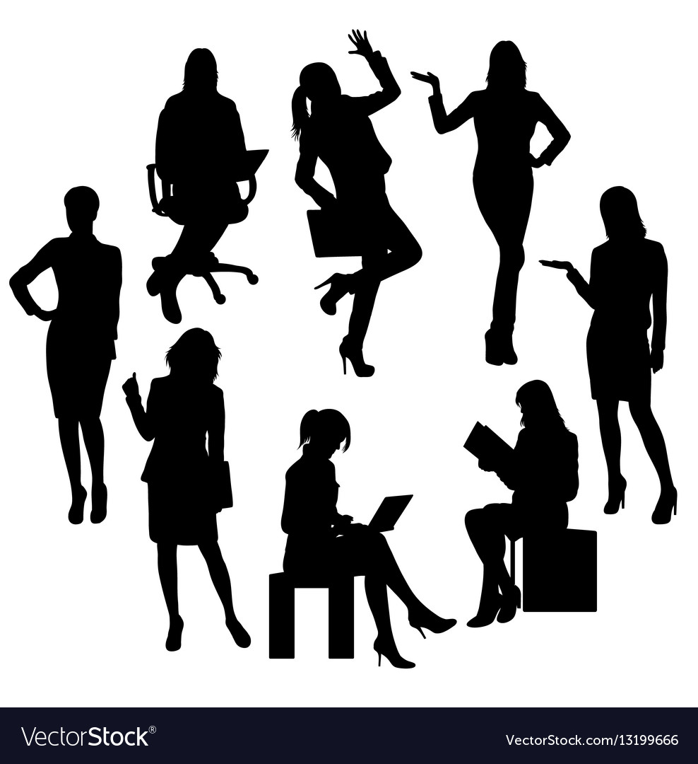 Business woman and secretary silhouettes