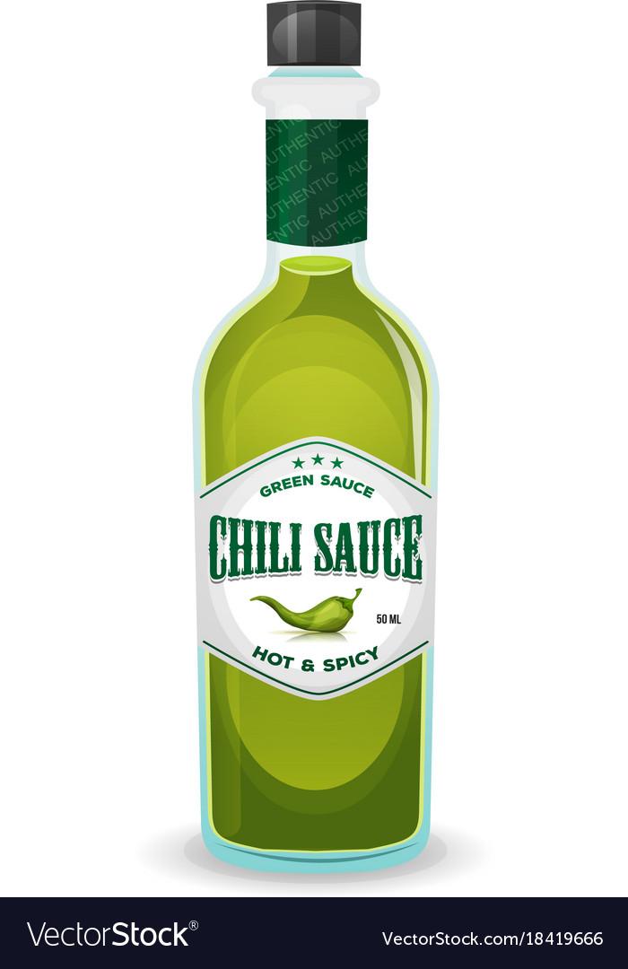 Chili pepper green sauce in bottle