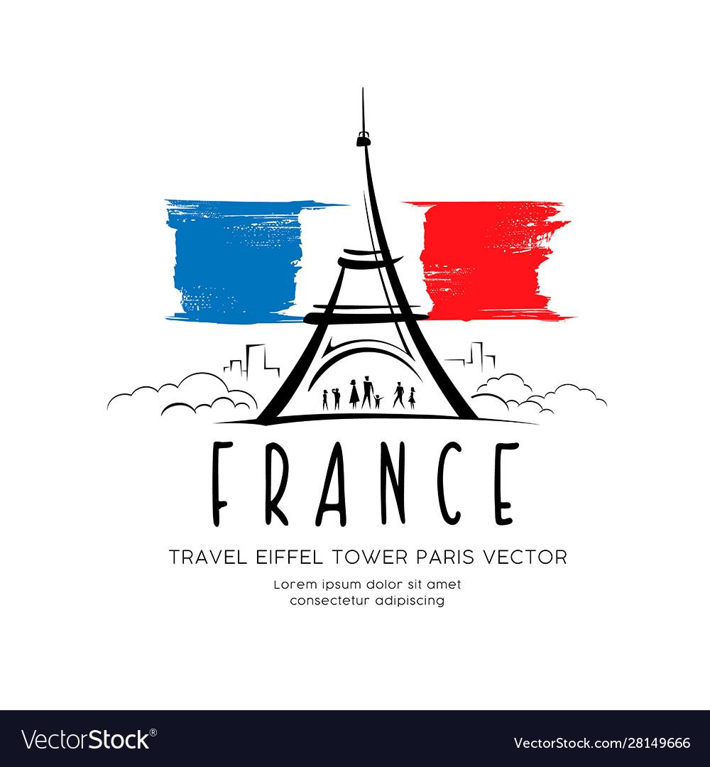 Eiffel tower flag france sketching