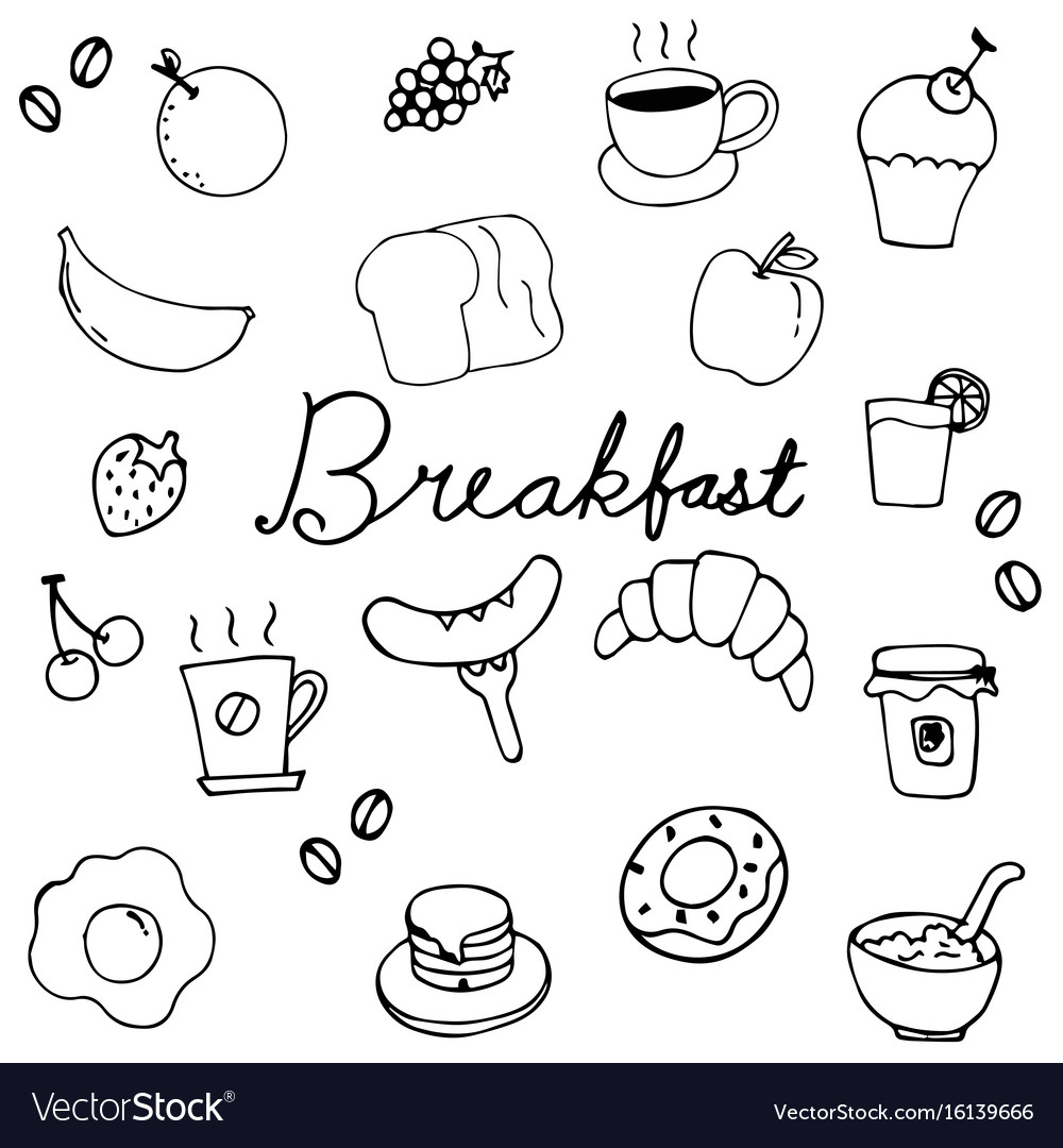 Hand drawing breakfast doodle design