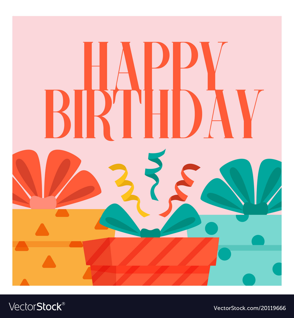 Happy Birthday Gift Box Background Image Vector Image