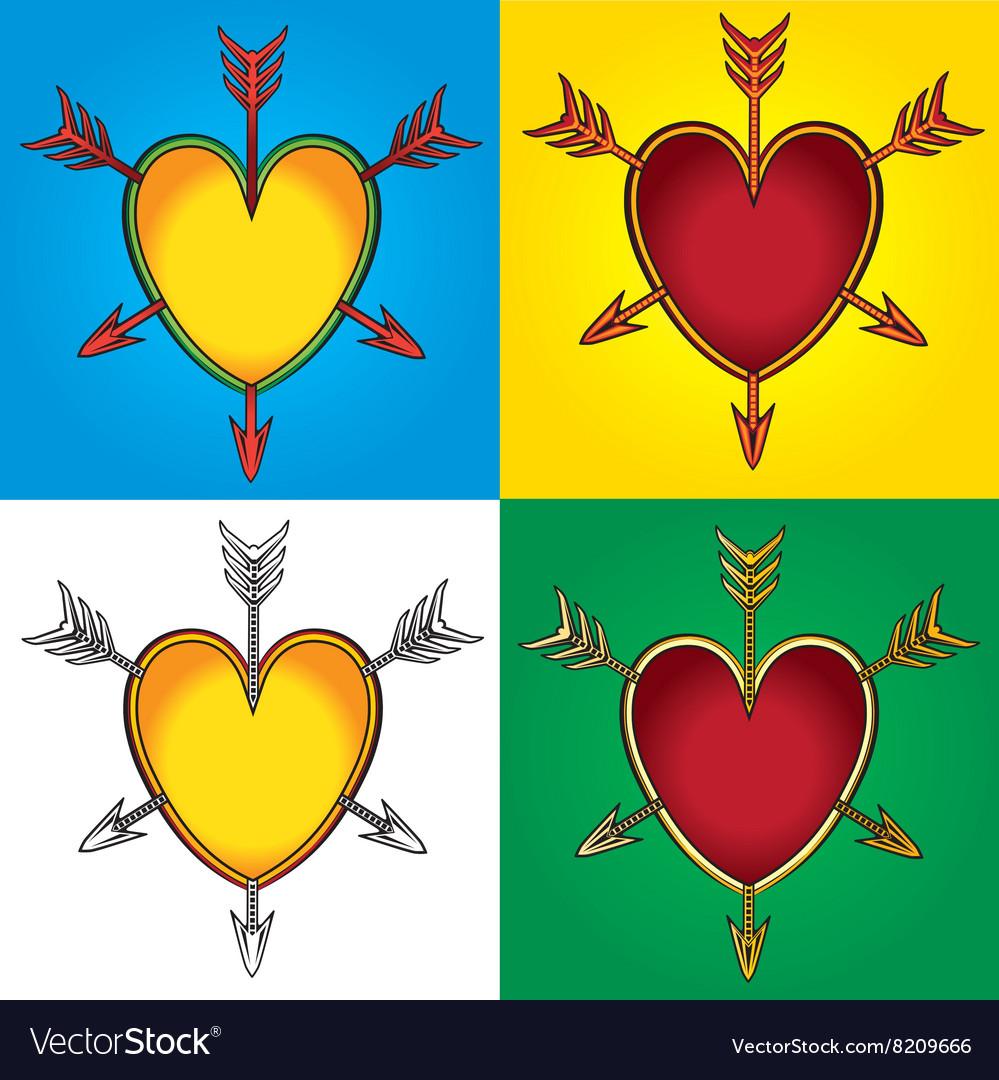 Heart shape symbol emblem arrows graphic