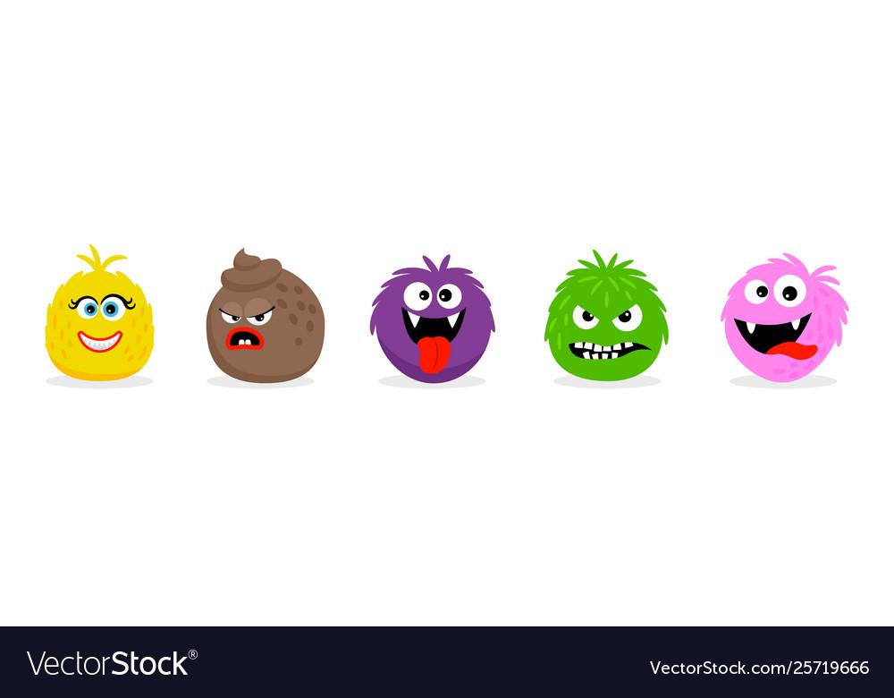 Monster faces emoticons cartoon funny