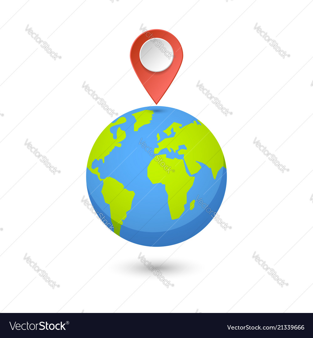 Planet and map pins icon earth and colorful map