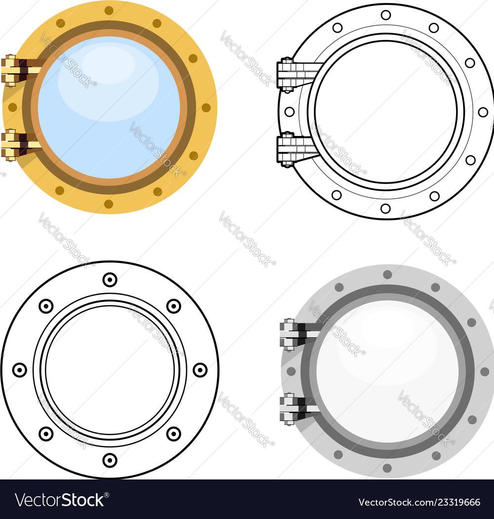 Porthole in flat style set