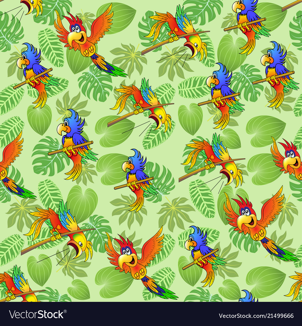 Seamless background of summer tropical leaves and
