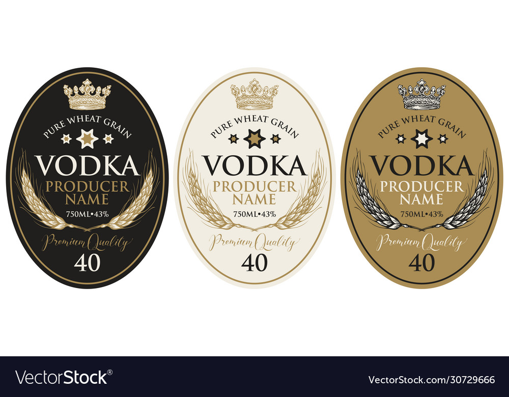 Set labels for vodka with wheat ears and crown