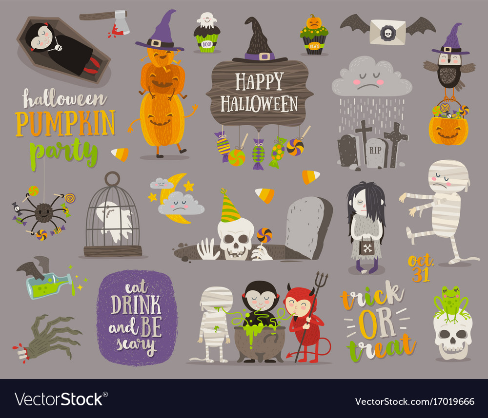 Set of halloween sign symbol and characters