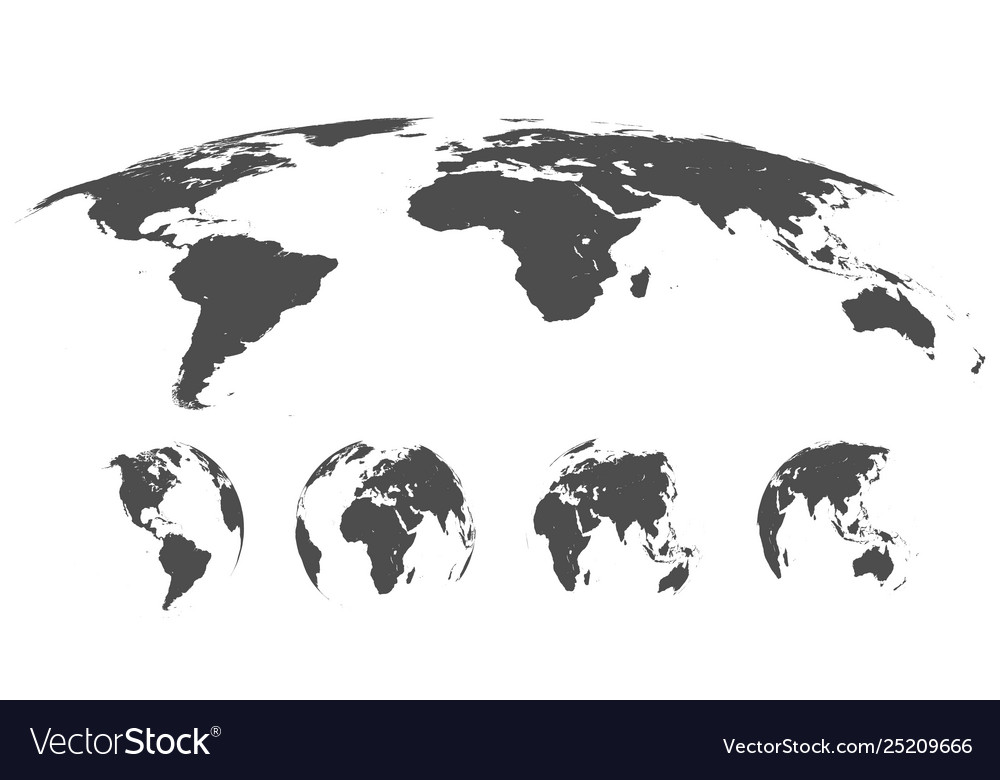 World map isolated on white background in gray