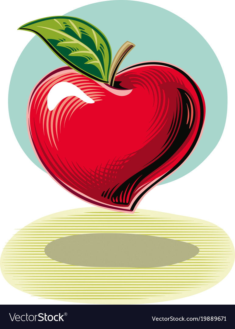 A Heart Shaped Apple As Symbol Of Health Vector Image