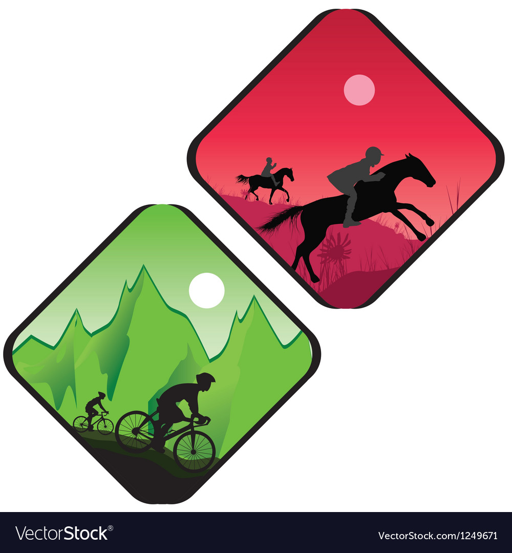 Biker And Horse Rider Silhouette Royalty Free Vector Image