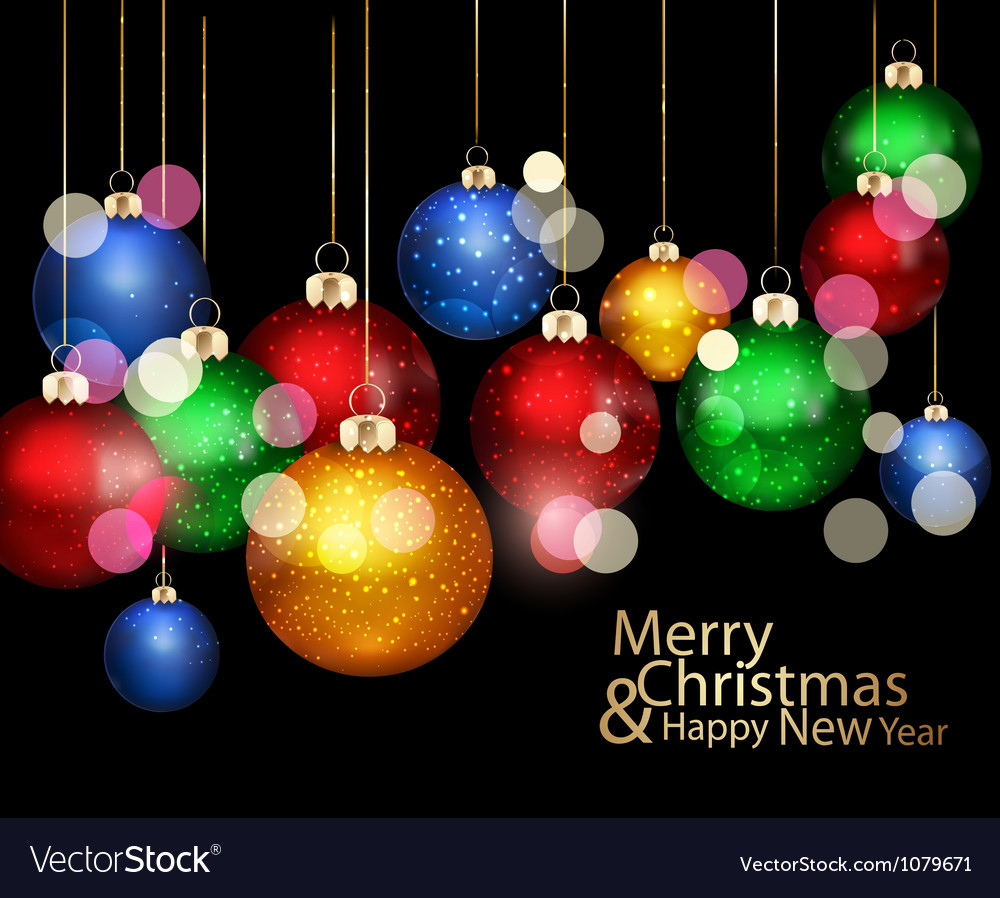 Christmas background with colored balls vector image