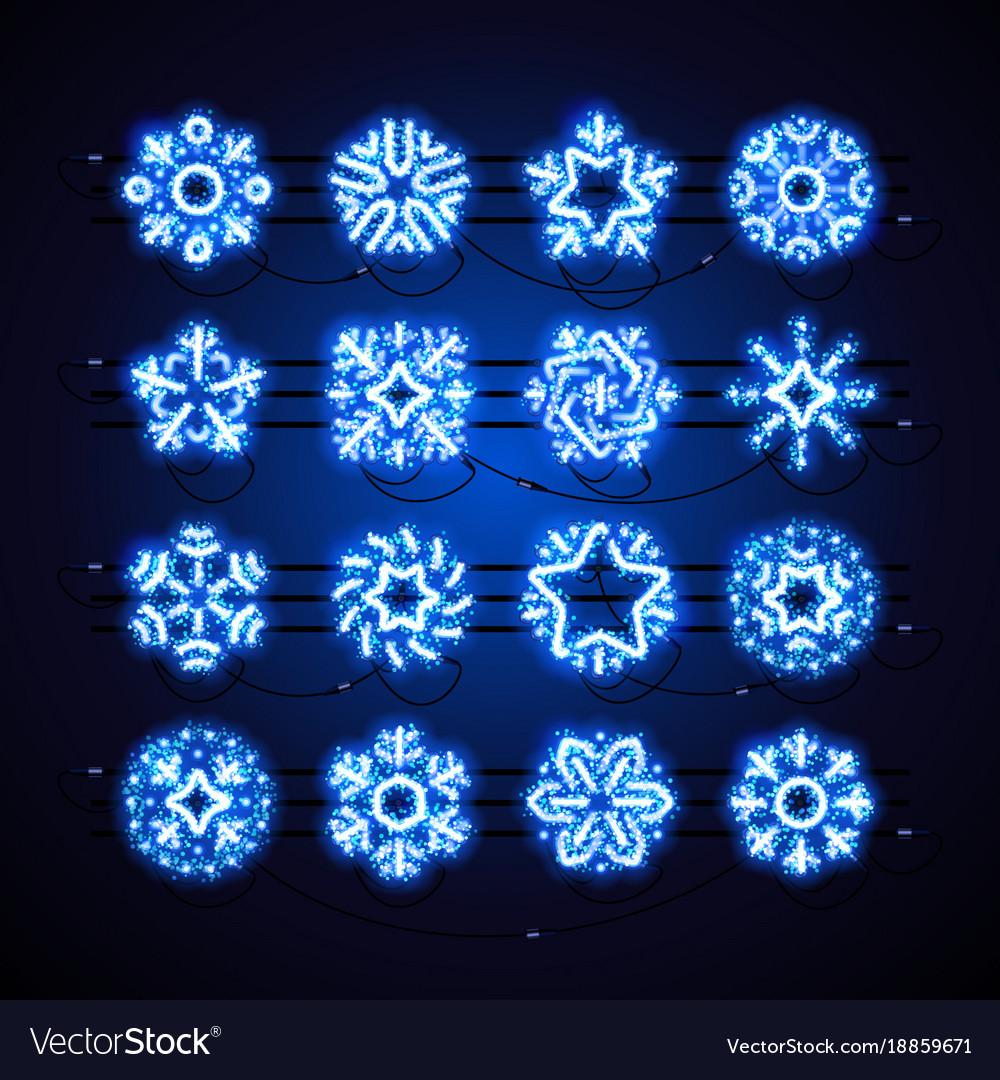 Christmas neon snowflakes blue magic
