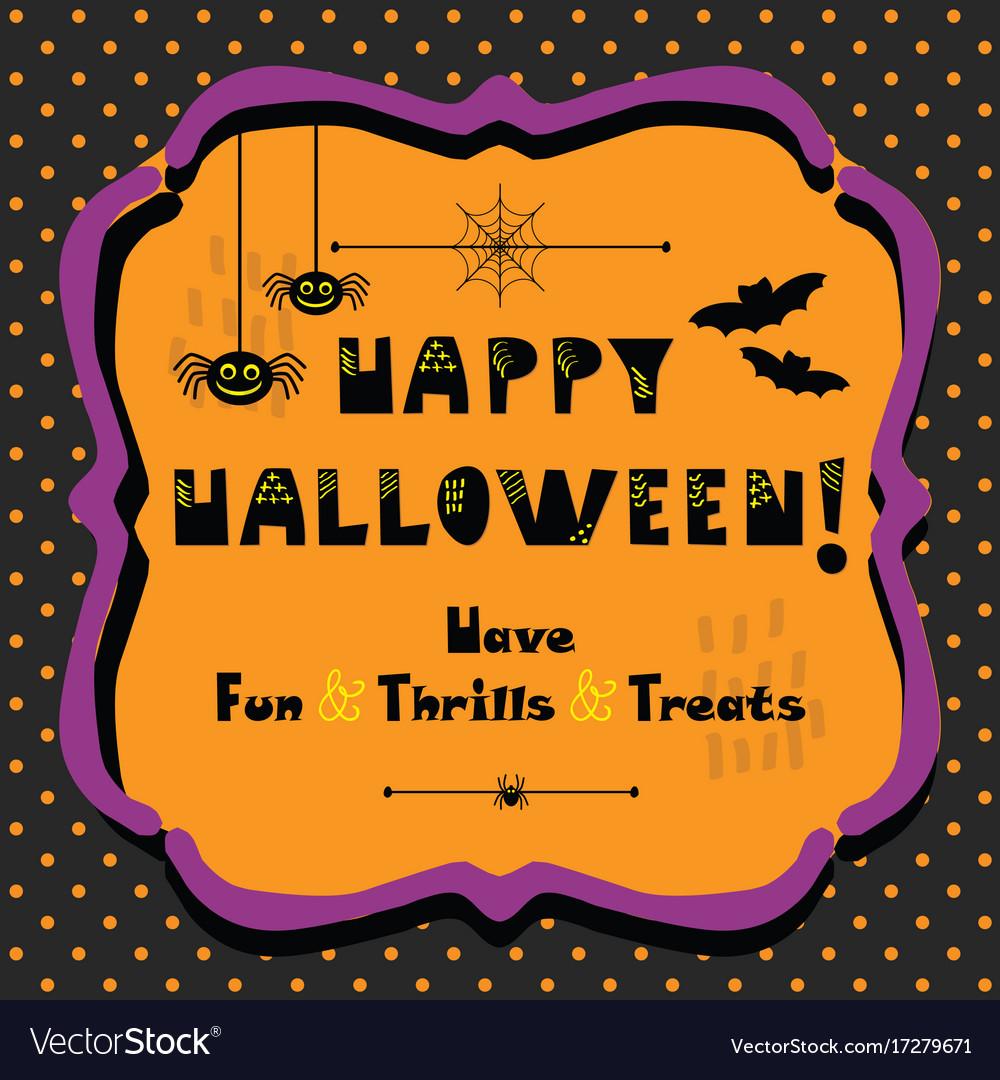 Cute Happy Halloween Emblem Greeting Card Vector Image