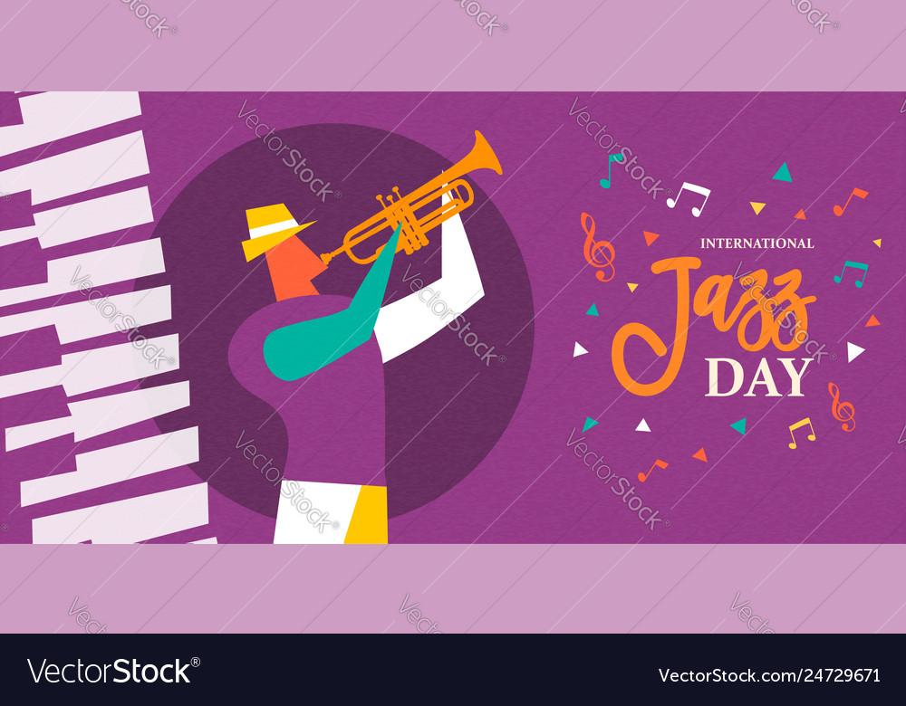 International jazz day poster of trumpet player