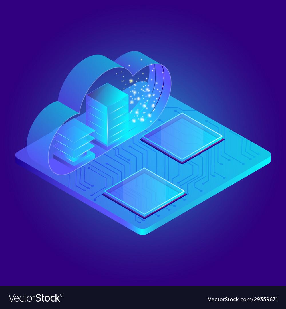 Modern 3d flat design isometric for cloud service