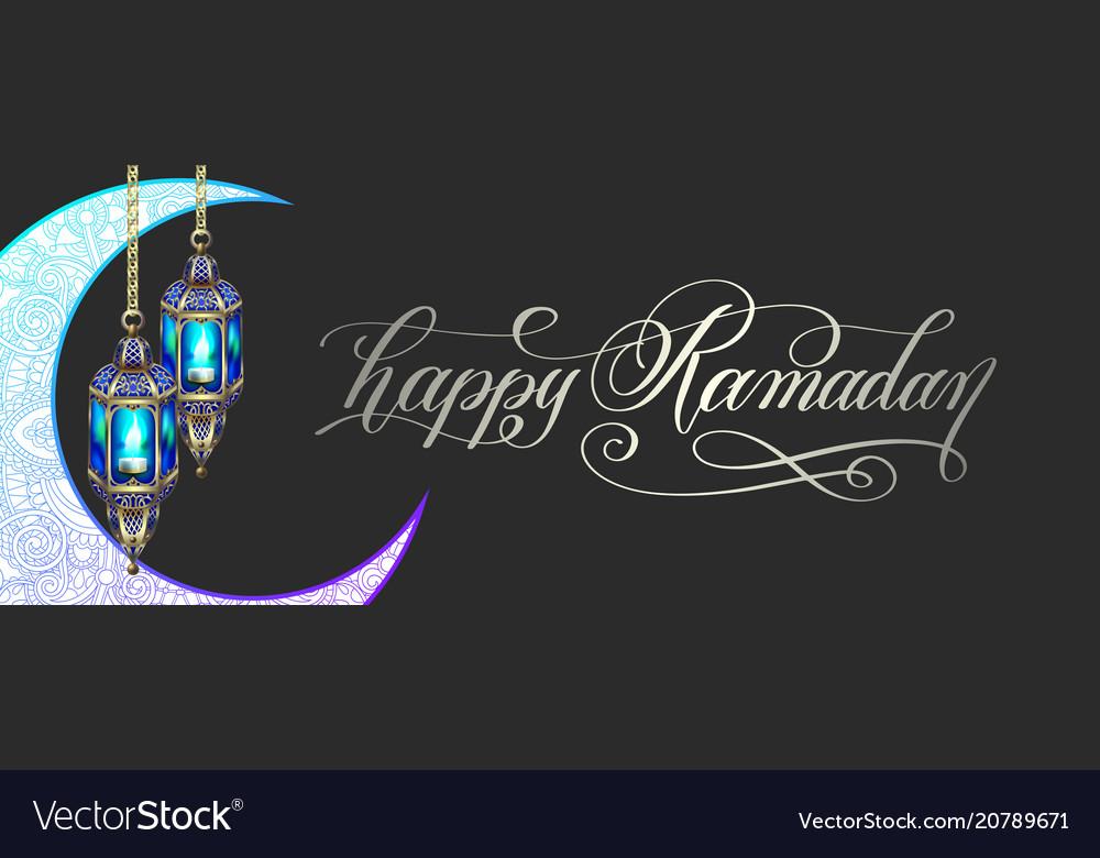 Ramadan greeting card with moon lantern and hand