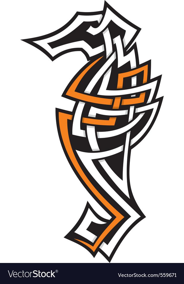 Seahorse tribal icon