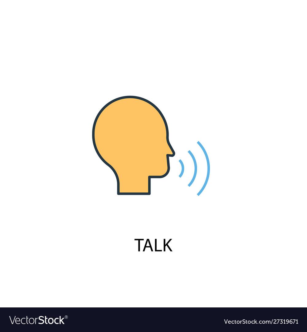 Talk concept 2 colored line icon simple yellow