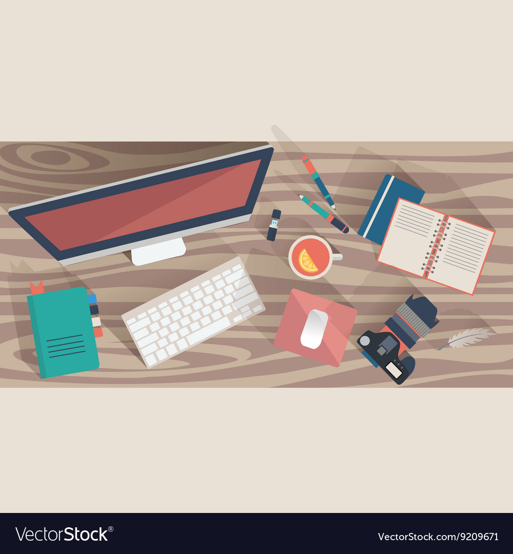 Top view workplace concept Flat design office vector image