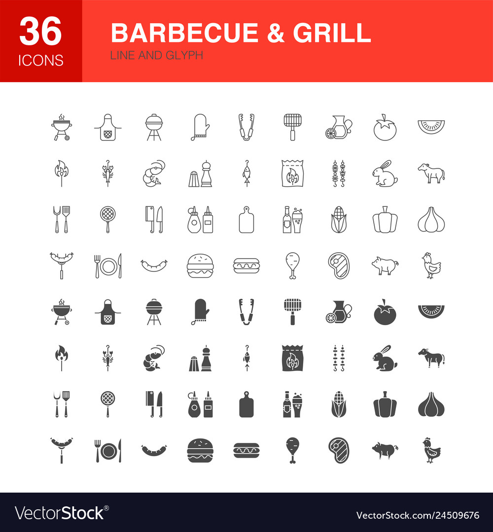 Barbecue grill line web glyph icons