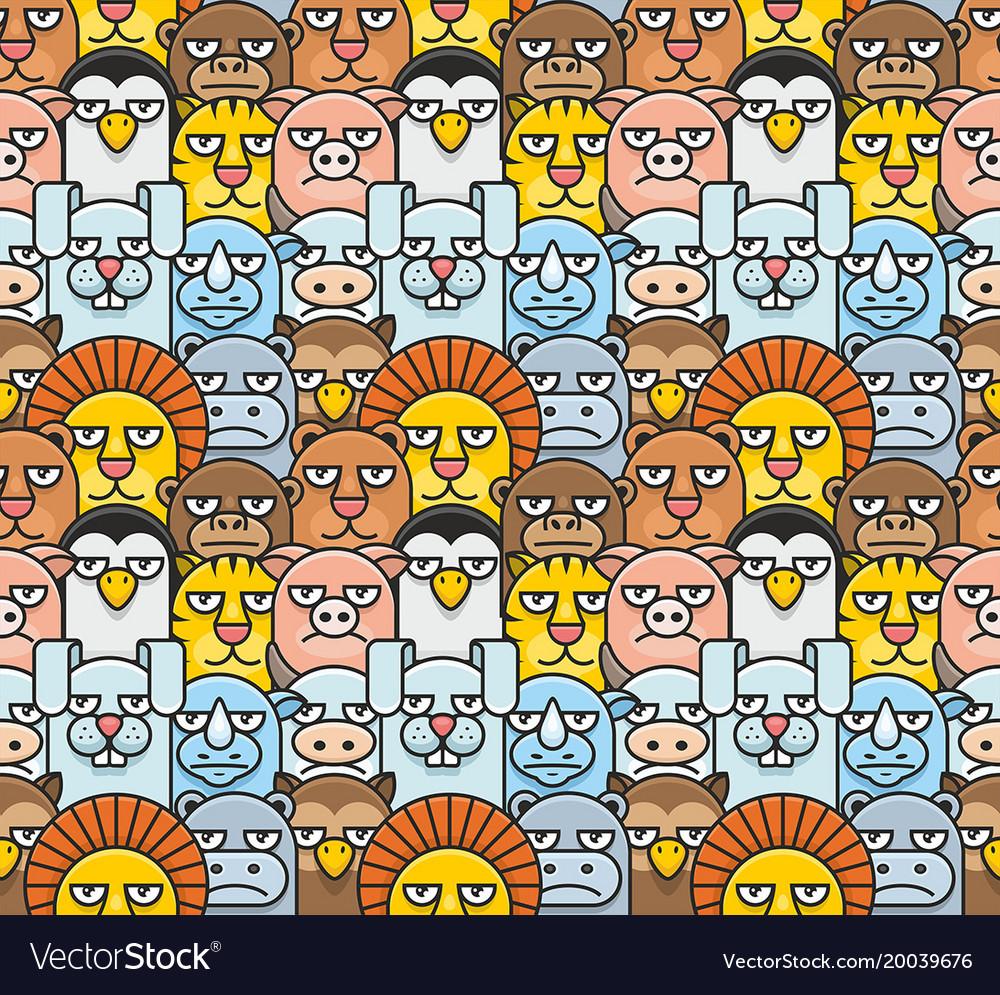 Cartoon animals pattern seamless