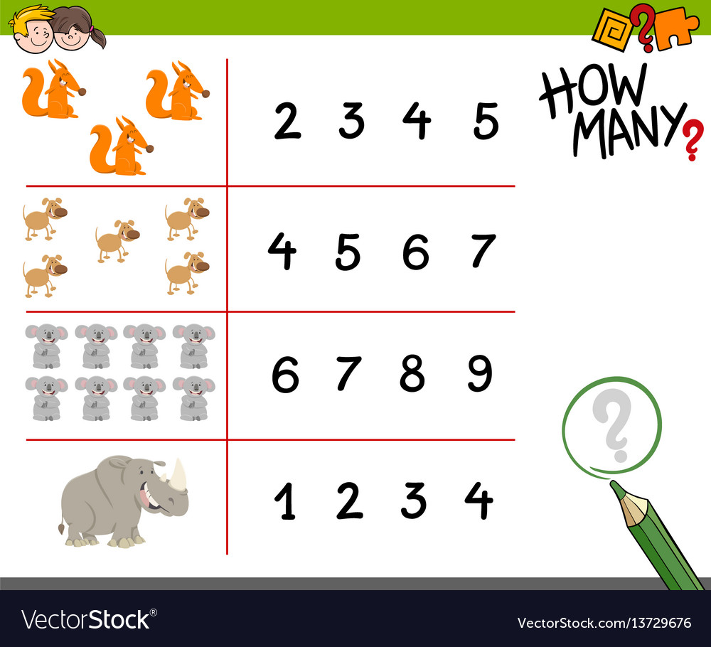 Counting activity with animals vector image