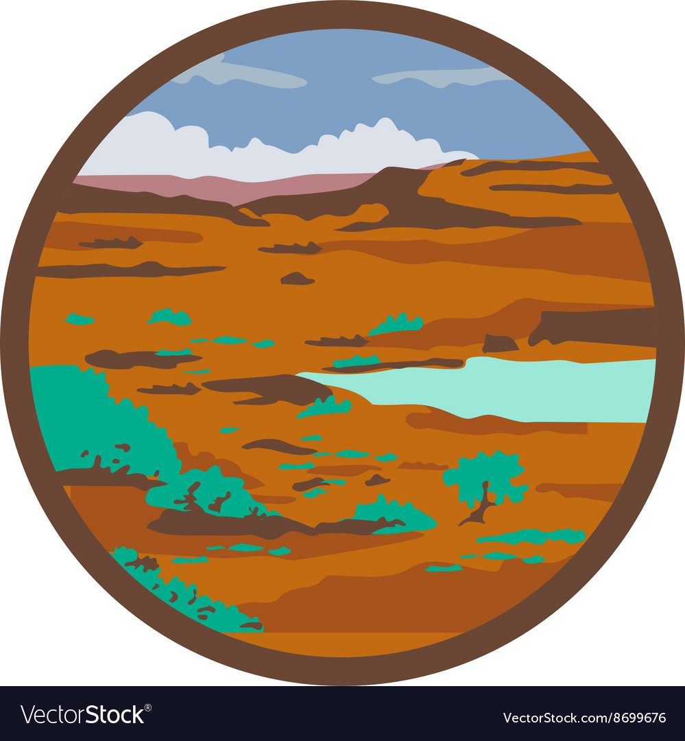 Desert Scene Circle Retro vector image
