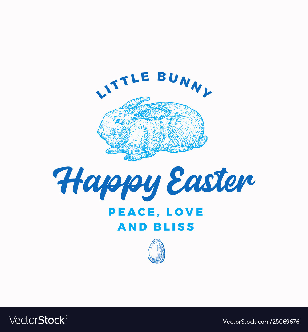 Happy easter bunny abstract sign symbol or