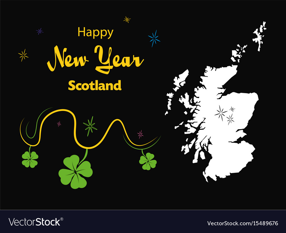 happy new year theme with map of scotland vector image