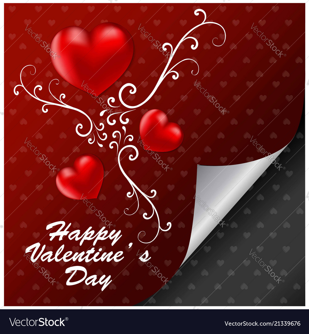 Happy valentines day with red pattern background
