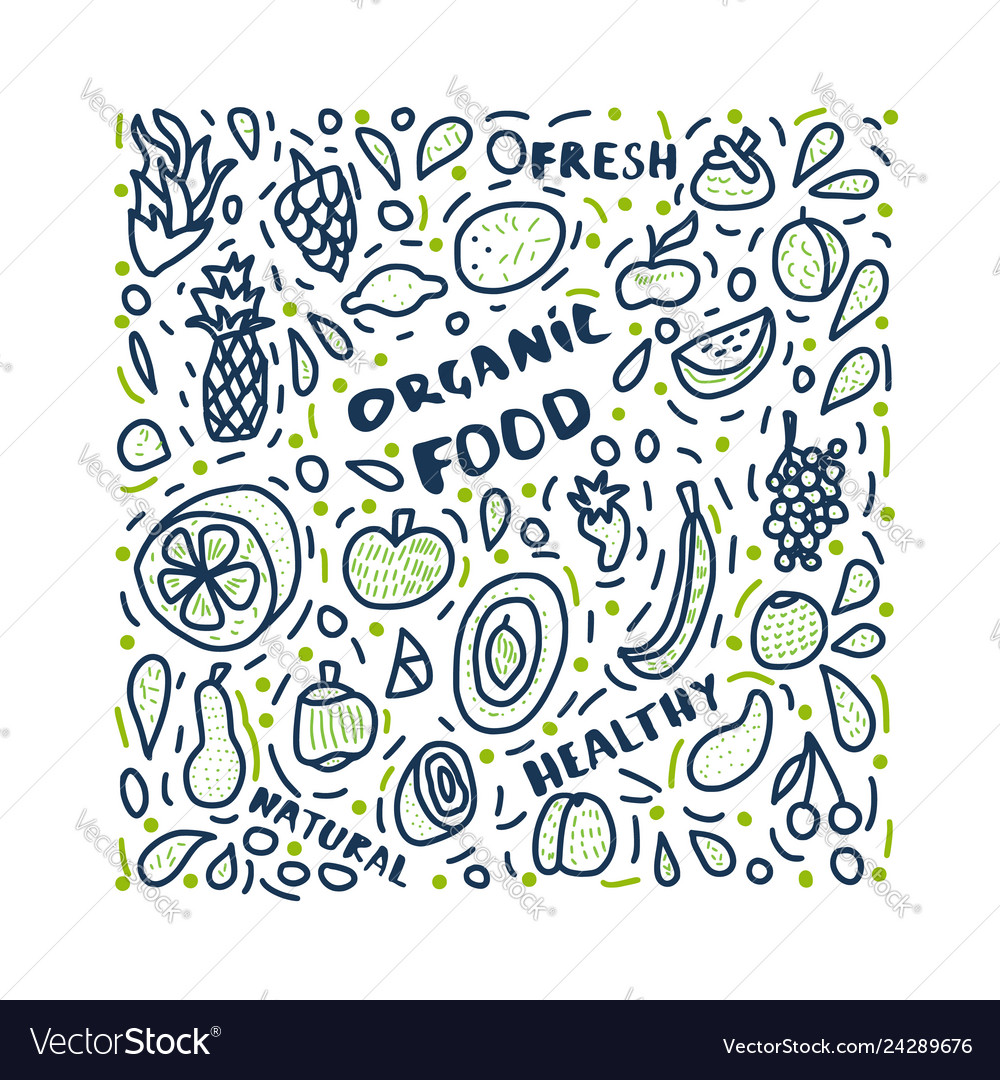 Healthy food concept with lettering design