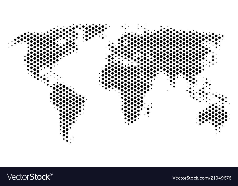 Hexagon world map Royalty Free Vector Image   VectorStock