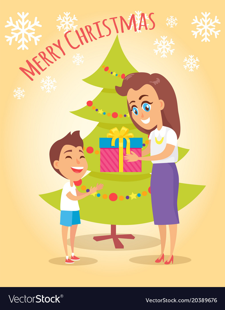 Mother Christmas Cartoon.Merry Christmas Poster Mother Gives Present To Son
