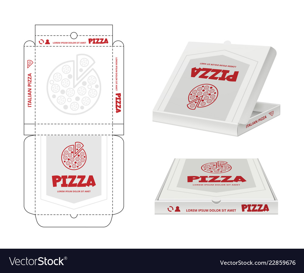 Pizza Box Design Unwrap Fastfood Package Vector Image Template Book Report Jpg 1000x898