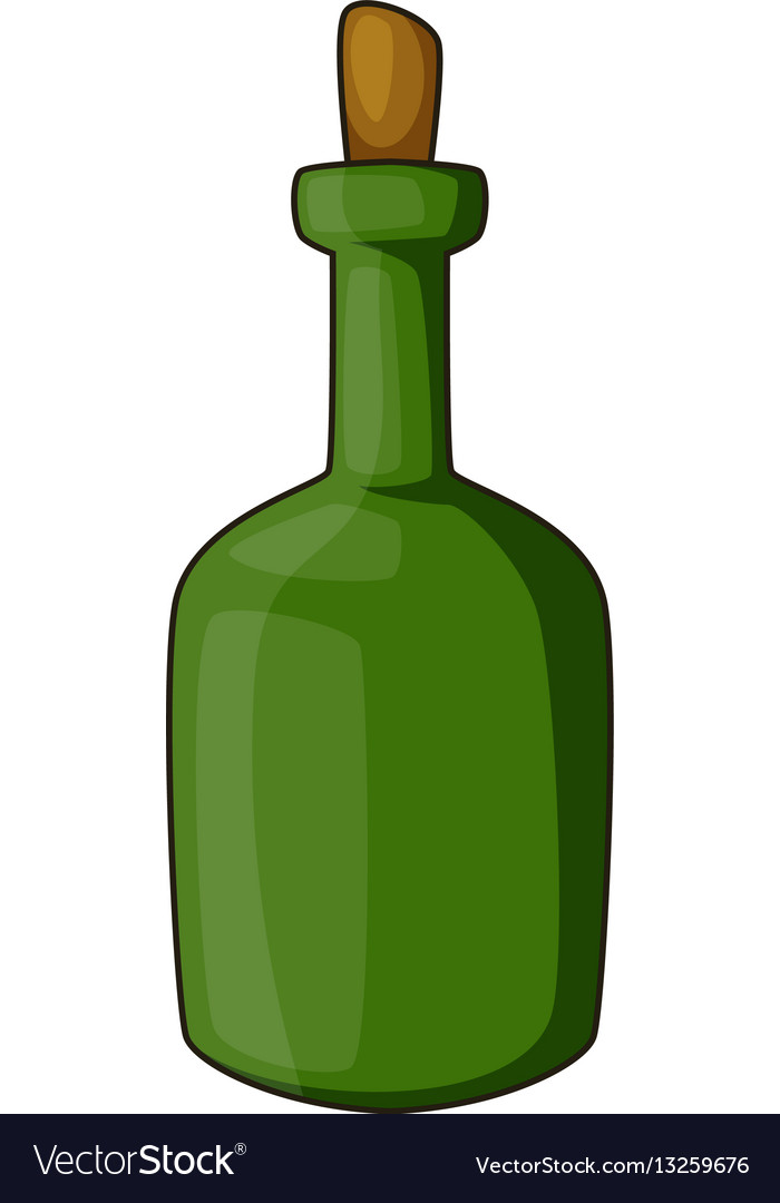 Retro green wine bottle icon cartoon style