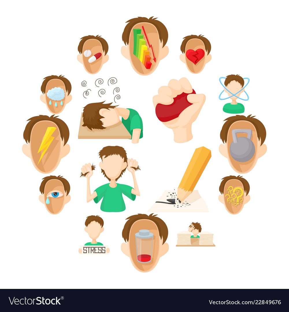 Stress icons set cartoon style