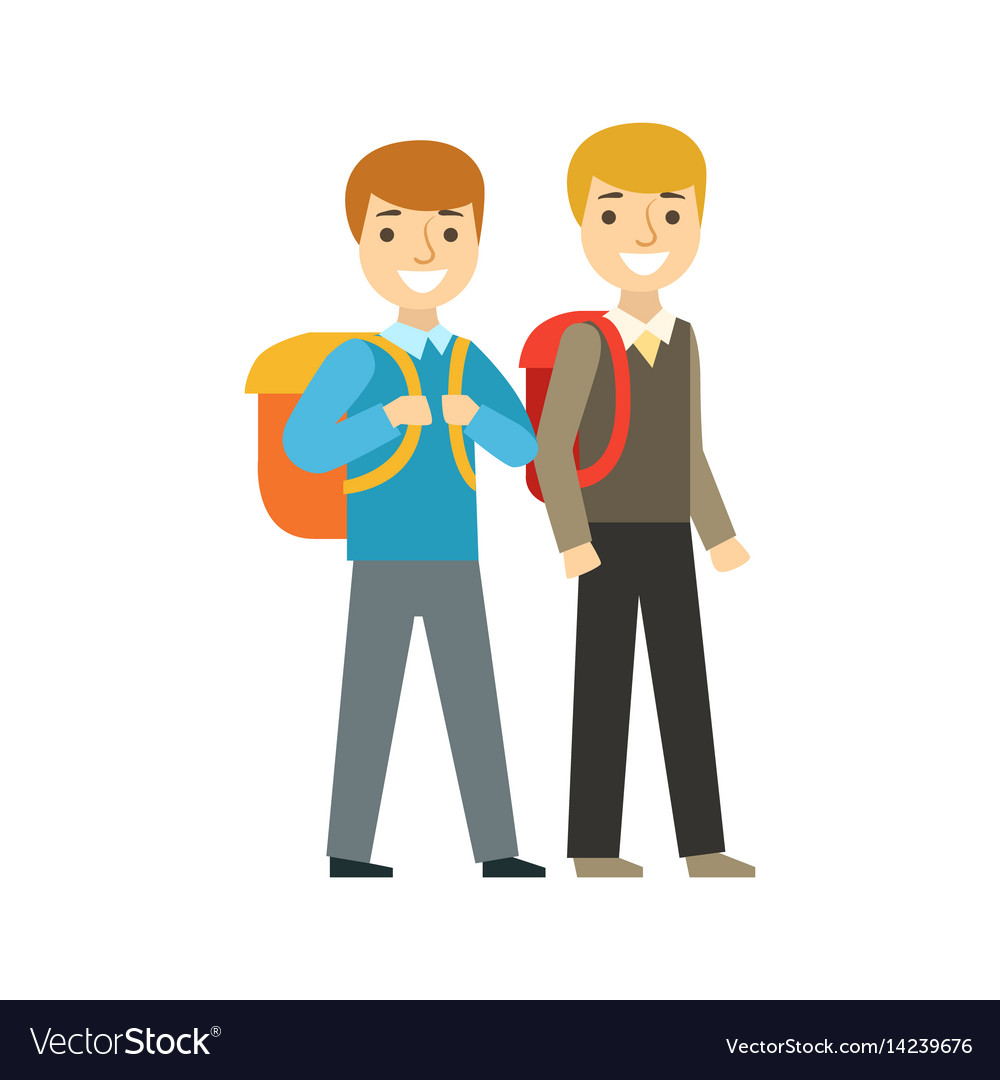 Two boys walking to school together part of vector image