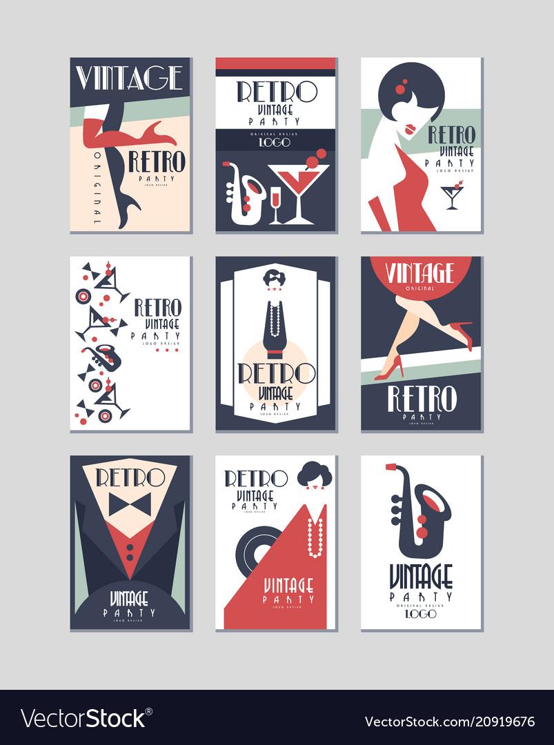 Vintage party poster set retro style design